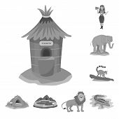 Vector Illustration Of Zoo And Park Sign. Set Of Zoo And Animal Vector Icon For Stock. poster