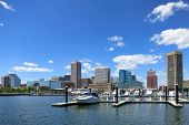 Baltimore Downtown Skyline Scenic Marina Cityscape