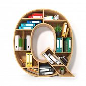 Letter Q. Alphabet in the form of shelves with file folder, binders and books isolated on white. Arc poster