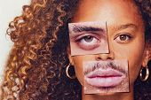 Gender Identity Concept With Composite Image Made From Male And Female Facial Features poster