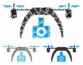 Drone Video Camera Mosaic Of Rough Pieces In Variable Sizes And Color Tones, Based On Drone Video Ca poster
