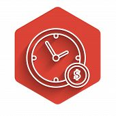 White Line Time Is Money Icon Isolated With Long Shadow. Money Is Time. Effective Time Management. C poster