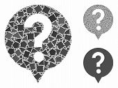 Help Mosaic Of Trembly Pieces In Variable Sizes And Color Tones, Based On Help Icon. Vector Abrupt P poster