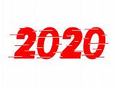 Happy New Year 2020 Red Text Design. Dynamic Vector Unusual Number. Speed Moving Greeting. White Bac poster