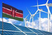 Kenya Solar And Wind Energy, Renewable Energy Concept With Windmills - Renewable Energy Against Glob poster