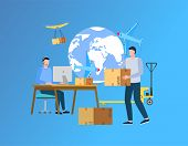 Cargo Delivery Abroad Vector, People Working With Shipment And Parcels Packaging, Man Holding Packag poster