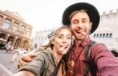 Happy Boyfriend And Girlfriend In Love Having Genuine Fun Taking Selfie At Old Town Tour - Wanderlus poster