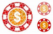 Dollar Casino Chip Composition Of Uneven Parts In Various Sizes And Color Tones, Based On Dollar Cas poster