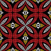 Floral Ornamental Seamless Vector Pattern. Greek Style Patterned Abstract Background. Ethnic Tribal  poster