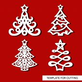 Set Of New Years Decorations - Christmas Trees With Stars, Balls, Garlands And Snowflakes. Template  poster