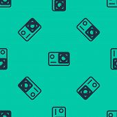 Blue Line Action Extreme Camera Icon Isolated Seamless Pattern On Green Background. Video Camera Equ poster