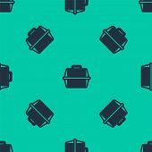 Blue Line Pet Carry Case Icon Isolated Seamless Pattern On Green Background. Carrier For Animals, Do poster