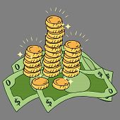 Banknotes With Coins Icon. Vector Illustration Of Golden Coins With Money Dollar Bills. Money Coins  poster