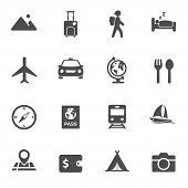 Travel And Tourism Vector Icon Set. For Web, Mobile And Ui Design Travel And Tourism Silhouette Vect poster