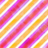 Watercolor Orange Pink Red Diagonal Stripes On White Background. Striped Seamless Pattern. Watercolo poster