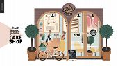 Cake Shop, Cakes On Demand - Small Business Graphics - Facade -modern Flat Vector Concept Illustrati poster