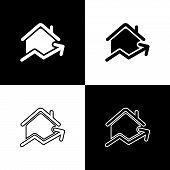 Set Rising Cost Of Housing Icon Isolated On Black And White Background. Rising Price Of Real Estate. poster