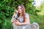 Animal First. Animals Are Our Friends. Happy Girl Love Goat. Village Weekend. Summer Day. Love And P poster