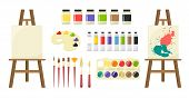 Painting Art Tools. Set Of Art Tools - Brushes, Palette, Palette Knife, Paint, Tube Art Paints, Ease poster