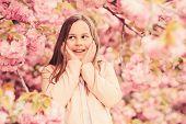 Allergy Remedy. Sniffing Flowers. Girl Enjoying Floral Aroma. Pollen Allergy Concept. Kid Enjoy Cher poster