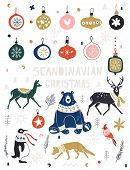 Christmas, New Year Icons Set In Flat Style. Nordic Animals And Birds And Floral Folk Elements. Desi poster