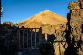 Door To The Path To The Top Of The Volcano. Teide Volcano At Sunrise In Tenerife. poster