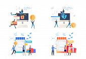 Set Of People Creating Passwords For Protecting Shopping Sites. Vector Illustrations. Development, O poster