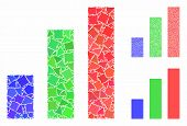 Bar Chart Composition Of Rough Pieces In Various Sizes And Color Hues, Based On Bar Chart Icon. Vect poster
