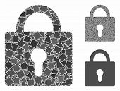 Lock Composition Of Inequal Items In Various Sizes And Color Tones, Based On Lock Icon. Vector Bumpy poster