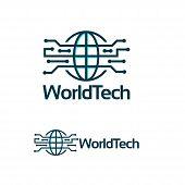 World Tech Logo Template, Simple Line Art World Tech Logo Template poster