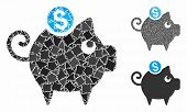 Piggy Bank Mosaic Of Tremulant Items In Variable Sizes And Color Tinges, Based On Piggy Bank Icon. V poster