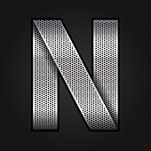 Letter metal chrome ribbon - N