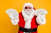 Credit Bank X-mas Lottery Win. Funny Funky White Bearded Santa Claus Hold Double Money Jackpot Fan B poster