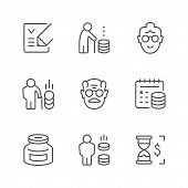 Set Line Icons Of Retirement Or Pension Isolated On White. Moneybox, Calendar, Old Man And Woman, Co poster