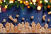 Christmas Background, Christmas Gingerbread  Town, Image Created From Gingerbread Cookies Houses, Fr poster