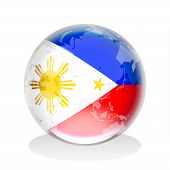 foto of filipina  - Crystal sphere of Philippines flag with world map - JPG
