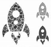Startup Rocket Mosaic Of Abrupt Elements In Different Sizes And Color Tones, Based On Startup Rocket poster