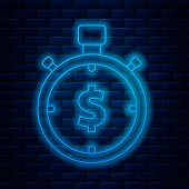 Glowing Neon Line Time Is Money Icon Isolated On Brick Wall Background. Money Is Time. Effective Tim poster