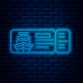 Glowing Neon Line Cruise Ticket For Traveling By Ship Icon Isolated On Brick Wall Background. Travel poster