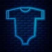 Glowing Neon Line Baby Clothes Icon Isolated On Brick Wall Background. Baby Clothing For Baby Girl A poster