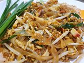 Thai Food Style, Top View Of Stir Fried Rice Noodle As A Background, Ready To Eat Or Serve, This Foo poster