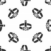 Grey Head Flashlight Icon Isolated Seamless Pattern On White Background. Tourist Head Flashlight. Ca poster