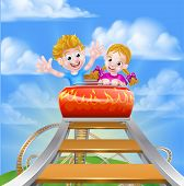 Cartoon Boy And Girl Kids Riding On A Roller Coaster Ride At A Theme Park Or Amusement Park poster
