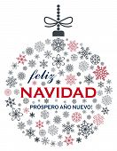 Christmas Bauble Vector With Snowflakes And Spanish Christmas Greetings On White Background. Transla poster