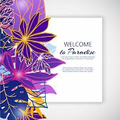Paradise Neon Violet Flowers And Leaves Vector Illustration. Ornament. Fantastic Flower With Leaves  poster