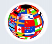stock photo of north sudan  - Globe with flags illustration view   - JPG