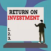 Conceptual Hand Writing Showing Return On Investment. Business Photo Text Ratio Between The Net Prof poster