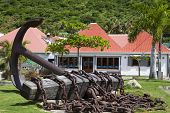 Giant anchor at Gustavia waterfront, St. Barths, French West Indies