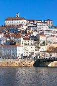 Coimbra, Portugal, Old City View. Sunny Blue Sky