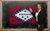 Teacher Showing Flag Ofarkansas On Blackboard For Presentation Marketing And Tourist Advertising